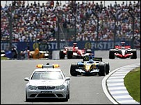 The safety car leads the field during last year's British Grand Prix