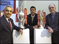 Coca-Cola's Sanjay Guha with Chris Kamara and Lord Brian Mawhinney