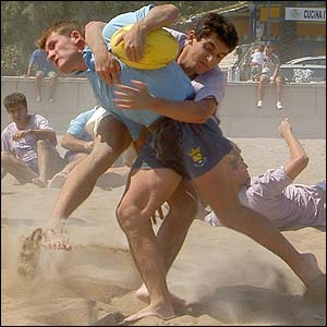 Nicolas Viaud's photograph shows the physically demanding nature of beach rugby in Denia, Spain
