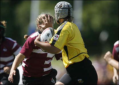 Rachel Horton's picture was taken at the Canadian National Rugby Championships in Winnipeg last summer, it shows Manitoba's number eight handing off a player from Newfoundland