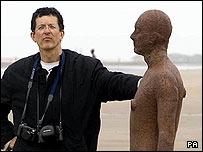 Sculptor Antony Gormley on Crosby beach