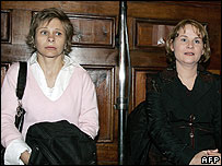 Doctor Laurence Tramois (right) and nurse Chantal Chanel in court in Perigueux