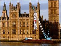 Greenpeace banner outside the Palace of Westminster