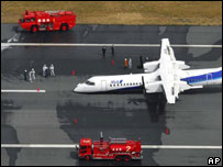 The All Nippon Airways plane after it made an emergency landing at an airport in Kochi, south-west Japan Tuesday, March 13, 2007.