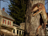 Dino outside a house (BBC)