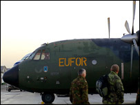A transport plane of the EU force