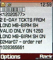 E-ticket sent to a mobile