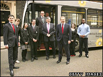 UK cabinet with eco-bus. Image: Getty