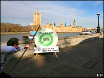 Stunt outside parliament. Image: PA