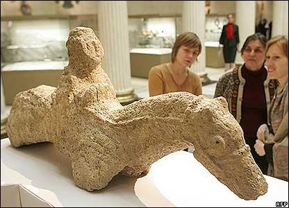 Stone horseman sculpture