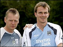 Stuart Pearce (left) with midfielder Dietmar Hamann