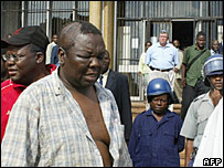Morgan Tsvangirai leaving court