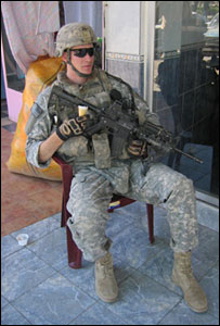 US soldier with ice-cream