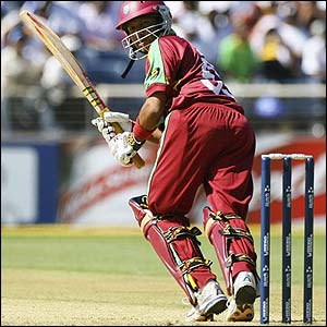 Ramnaresh Sarwan flicks the ball away