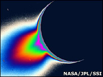 Plumes on Enceladus (Nasa)