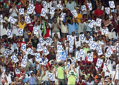 West Indies fans celebrate another six