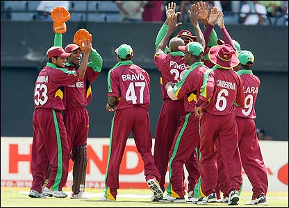 The West Indies celebrate after the dismissal of Pakistan's Imran Nazir