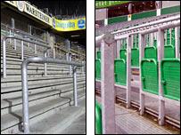 The standing areas at Borussia Dortmund and Werder Bremen