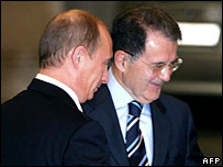 Vladimir Putin and Romano Prodi in Rome, 13 March 2007