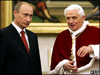 Vladimir Putin meets Pope Benedict at the Vatican, 13 March 2007