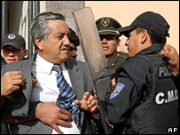 Congress Vice President Edison Chavez (left) confronts police during an attempt in March to enter Congress