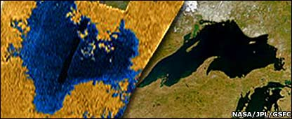 Cassini radar image of the sea on Titan compared with image of Lake Superior (Nasa,/JPL/ GSFC )Nasa/JPL/GSFC