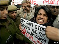 Communist Party of India (Marxist Leninist) supporters protests against Nandigram killings in Delhi