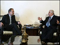 EU foreign policy chief Javier Solana (left) and Syrian Foreign Minister Walid Muallim