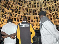 Sudanese refugees in the Hall of Names, Holocaust History Museum