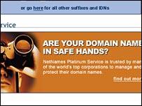 Screen shot of NetNames website