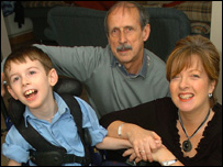 Jac Richards and his parents Hywel and Joanne Richards