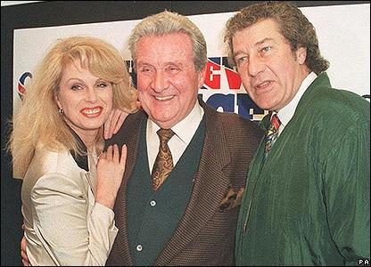 Joanna Lumley, Patrick Macnee and Gareth Hunt in 1995