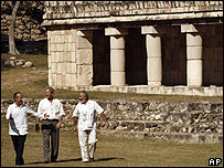 Mr Bush walking with Mexican president Felipe Calderon and archaeologist Tomas Gallareta at Mayan ruin