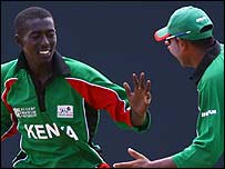 Jimmy Kamande celebrares a wicket
