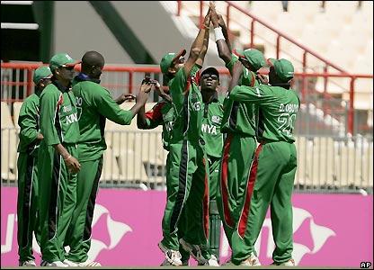 Kenya celebrate Geoff Barnett's dismissal
