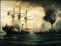 Óleo del Combate Naval de Iquique (Thomas Somerscales)