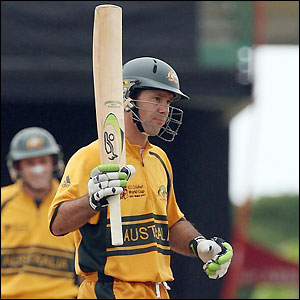 Ricky Ponting completes his century