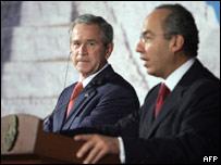 George W. Bush y Rafael Calderón