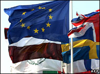 Flags outside the European Parliament on 14 March 2007