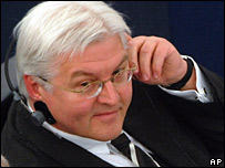 German Foreign Minister Frank-Walter Steinmeier listens to the debate in parliament
