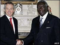 Tony Blair and John Agyekum Kufuor.
