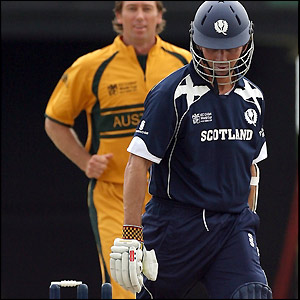 Fraser Watts is bowled out by Glenn McGrath