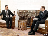 Mr Solana (right) meets Syrian President Bashar al-Assad