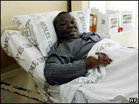Morgan Tsvangirai in hospital bed