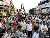 Protests by Trinamul Congress party against the police firing in Nandigram