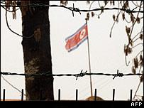 North Korean flag flies at the embassy in Beijing, China