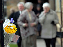 Parishioners leaving memorial service