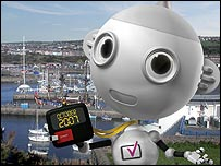 "Digital TV mascot ""Digit Al"" in front of Whitehaven harbour"