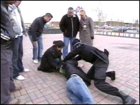 Scene from a first aid video