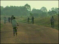 People on bicycles in northern Uganda